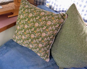 """Floral Square Cushion Cover - Vintage 1960's Fabric Handmade Cushion - Green Two Sided Floral Lace Cushion - 50cm x 50cm - 20"""" x 20"""""""
