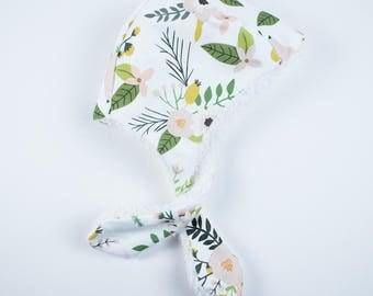 Floral Winter Bonnet, Baby Bonnet, Faux Fur Sherpa Bonnet, Warm Bonnet, Girls Bonnet