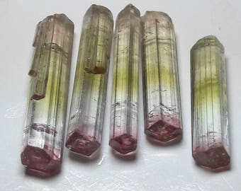 bi color tourmaline crystals , raw tourmaline crystals lot , rough tourmaline crystals , tourmaline pendent , tourmaline crystals 28 carats