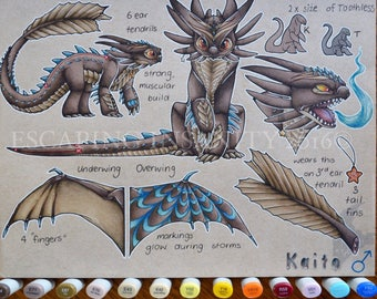 Traditional Character Design and Reference Sheet: Fursuit reference, furry art, handmade copic fursona poster.