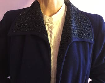 1930s deco beaded gaberdine swing coat