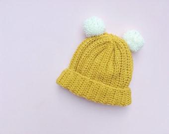 Crochet Hat | Double Pom Pom Hat | Pom Pom Hat | Crochet Beanie | Bobble Hat | Childrens Hat | Baby Hats | Custom