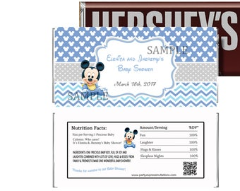 PRINTED or Digital Baby Mickey Baby Shower Candy Wrappers, Baby Mickey Party Favors, Blue Mickey Mouse Baby Shower Chocolate Wrappers