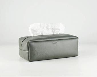 PU Leather Tissue Box Holder, Rectangle Tissue Box Cover , Facial Tissue Holder, Soft Touch, Dark Grey
