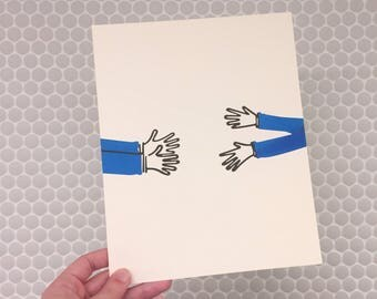 Reaching – 8x10 Blue Risograph Print