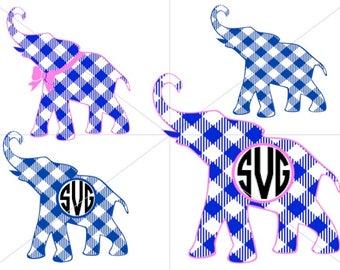 Plaid Elephant Monogram SVG Preppy Elephant SVG Cricut Silhouette
