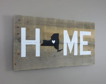 "New York Home Pallet Wood Sign - Pallet Sign 10"" X 20"""