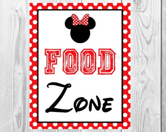 "Food Zone Sign, Minnie Mouse Birthday Party Sign, 8""x10"" Printable, Instant Download"