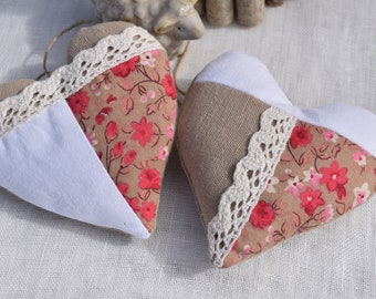 Hearts fabric to hang - set of two beige fabric patchwork hearts, flowers and white sheet - decorative hanging heart - heart shabby