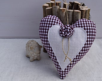 Heart red gingham fabric and white heart - heart pillow of door and pink fabric - heart hanging decoration