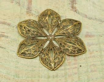 Bronze filigree ESTB41 flowers x 6 prints