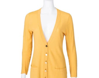 Magaschoni Vintage Bright Yellow Cashmere Sweater Cardigan with Gold Buttons