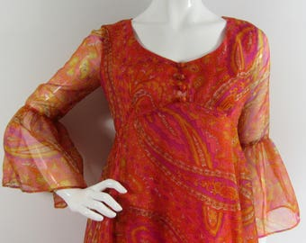 Vintage 1970's HORROCKSES Paisley Dress, UK 10 Orange, Pink, Indian Inspired, Wedding, Christening, Spring, Summer