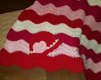 Baby Girl Chevron ripple blanket and baby hat- Ready to ship