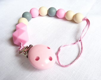 Pink silicone dummy clip / Silicone paci clip / Silicone dummy chain / Baby girl Binky clip / Teething baby clip / Teether clip