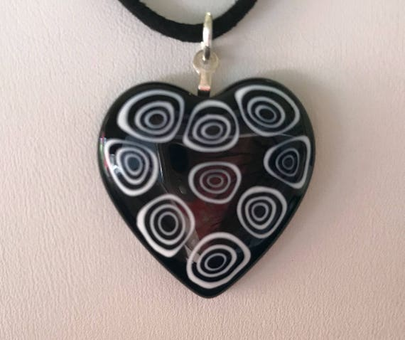 Millefiori Heart Necklace  Black and White On Black Suede Cord