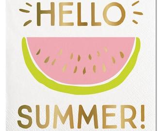 Watermelon Napkins,Summer Napkins,Watermelon Party,Gold Foil Napkin,Summer Party Napkins,Summer Party,Watermelon Napkins