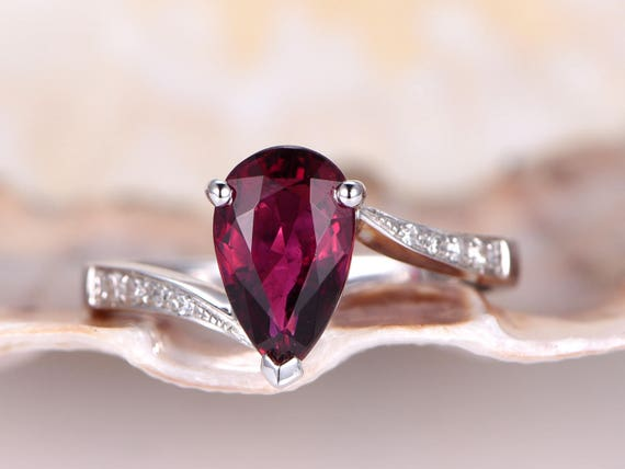 Pink tourmaline ring,2ct pear cut VS pink tourmaline engagement ring,natural gemstone,diamond wedding band,promise ring,Curvaceous style
