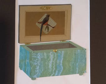 Original paper collage matted for hanging -- Boxes Series 2017 #16 - Bird Wall Art in Gold and Blue