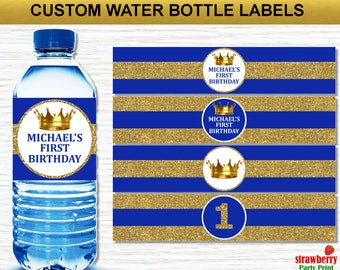 Personalized Prince Birthday Water Bottle Labels Printable, Royal Prince Party Decorations, Royal Blue & Gold, Crown, A26