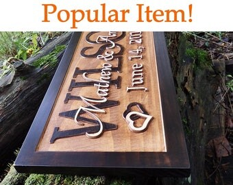 Rustic home decor, unique wedding gift for couple, established sign, newlyweds gift, family name signs, 5th anniversary gift mr and mrs sign