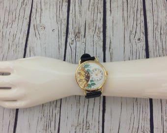 Hand Painted Watch, Sunflower Watch, Mom's Gift, Gift for Gardener, Gardening Gift, OOAK Watch, Flower Watch, Women's Watch