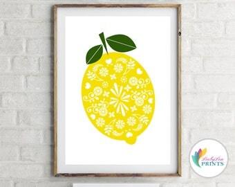 Lemon Kitchen Print - Lemon Fruit Print - Scandinavian Design Lemon - Skandi Design Kitchen Print - Retro Print