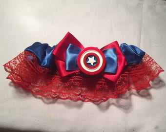 Marvel Captain America Wedding Garter - Handmade