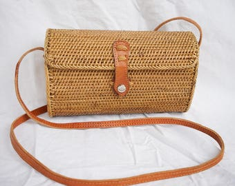 Free Shipping - Square Mariam Rattan Handbags Straw Rattan Hand Woven Grass with Leather Strap