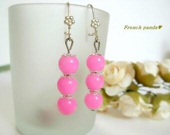 Pair of Silver earrings, fuchsia glass beads