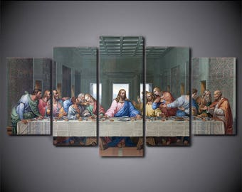 Last Supper print poster canvas decoration 5 pieces XL size