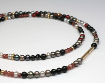 Gemstone Necklace with 750 gold clasp unique jewelry design hand made in Germany