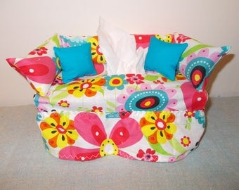 Bright Retro Flower Couch Tissue Box Cover