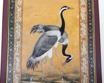 Set Vintage FRAMED BIRD ART Asian Bird Prints in Ornate Frames with Brass Corners 13x10 Oriental Birds Prints