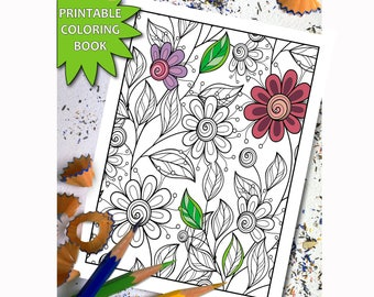15 Flowers Patterns Adult Coloring Book Pages Printable Download LineArt Instant