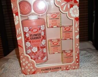 Vintage Boots Flower Garden Rose  Set in Original Packaging - Bath Cube / Soap / Talc  (1960s)