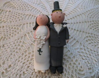 Claydough Bride and Groom Wedding Cake Toppers