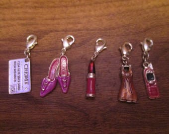 Charm Bracelet Charms Pink Ladies Charms Set of Five