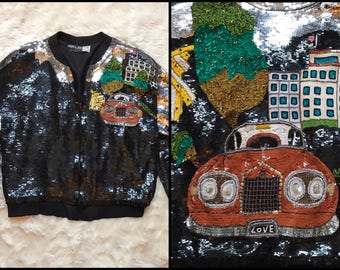 1980's Trippy Sequin Psychedelic Bomber Jacket