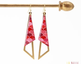 Earrings resinees pattern waves pink triangles