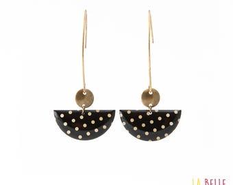 Earrings hook half moon black polka dot pattern