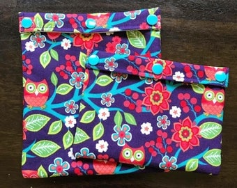 Reusable Snack and Sandwich Bag Set  Flowers and Owls - Wet Bag