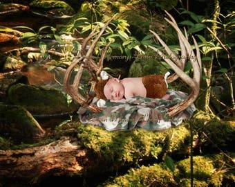 Digital Background, Newborn Background, Sitter Background, Boy or Girl Backdrop, Deer Antler Prop, Forest Background, Mossy Log Prop