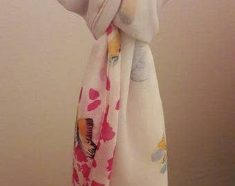 Butterfly print chiffon scarf - graduates between two colours