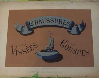Old poster calligraphy library of the sign painter shoes screwed & sewn letters 1897 models