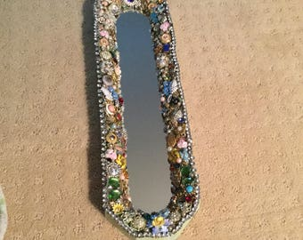 Dazzling Decorative Mirror covered in Vintage jewelry and Buttons