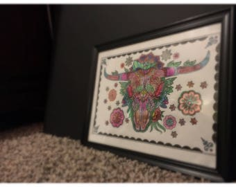 Wall art/Decor *Skeleton head* with COSTUMIZED frame color