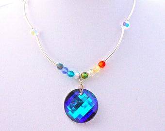 Necklace vintage cabochon and swarovski crystal beads