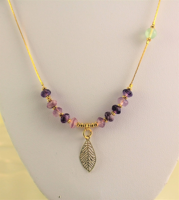 chic bohemian necklace with pendant filigree, gold plated rings and gemstones