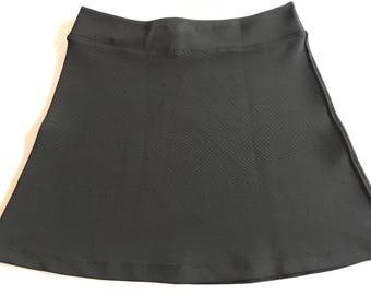 Black Ponte 4-Way Stretch Heavy Knit Activewear/Officewear Skirt with Hidden Adjustable Tie Comfortable A-line Cut Skims over Hips